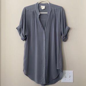 Anthro Maeve Gray  100% Silk Tunic Top M